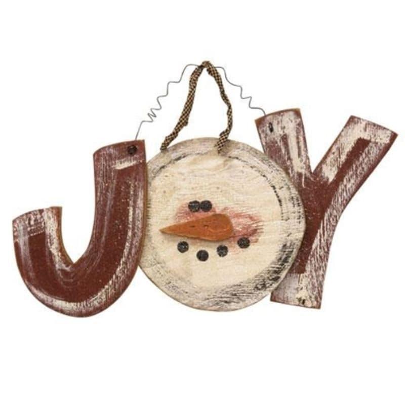 Distressed Hanging Snowman Joy Sign - Brown (Brown)