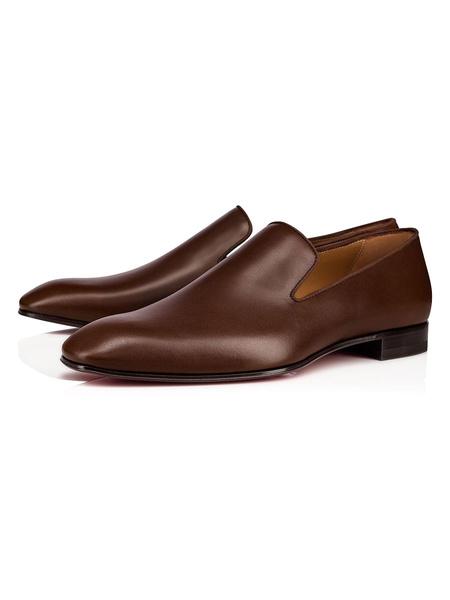 Milanoo Zapatos de vestir para hombre Zapatos de fiesta de piel de vaca sin cordones con punta redonda Zapatos de fiesta marrones