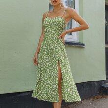 Cami Kleid mit Schlitz, Raffung hinten und Bluemchen Muster