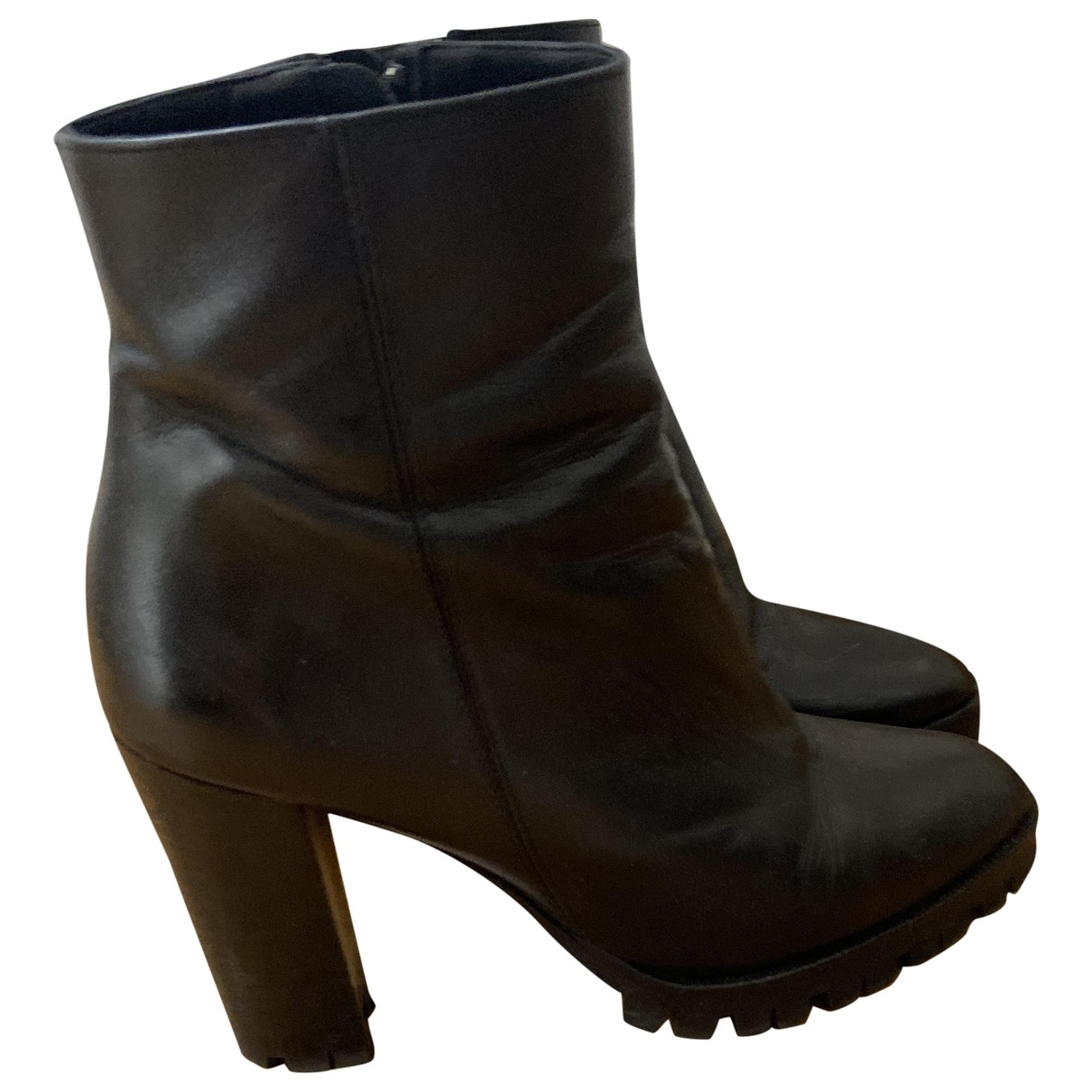 The Kooples \N Black Leather Ankle boots for Women 37 EU