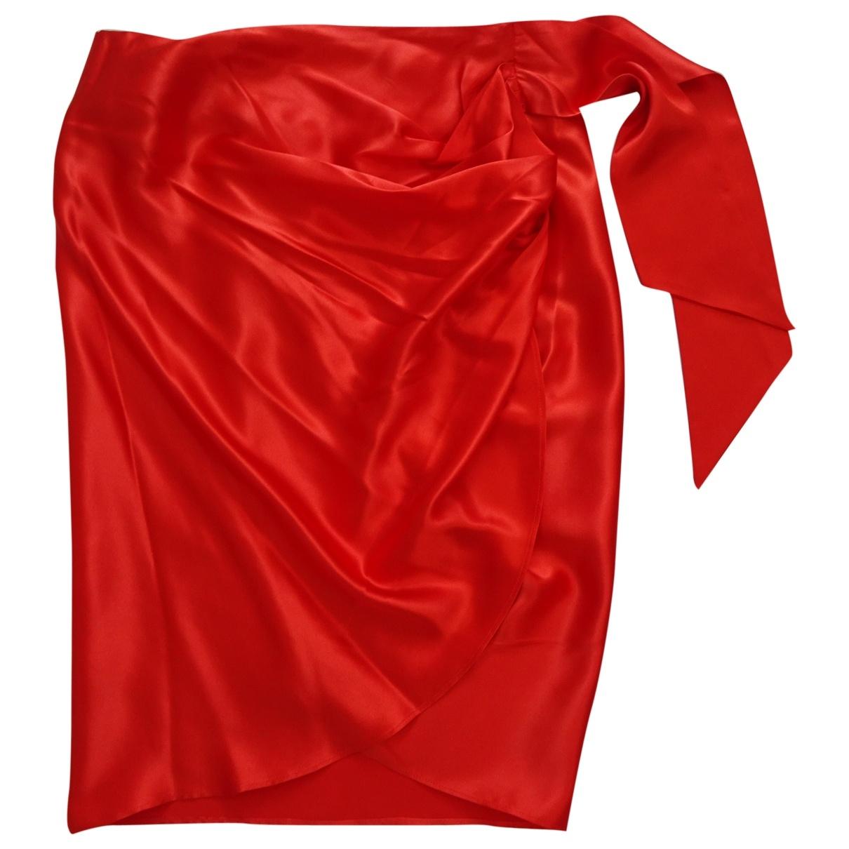 Salvatore Ferragamo - Jupe   pour femme en soie - rouge