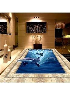 3D Ocean Jumping Dolphins Pattern Waterproof Nonslip Self-Adhesive Blue Floor Art Murals