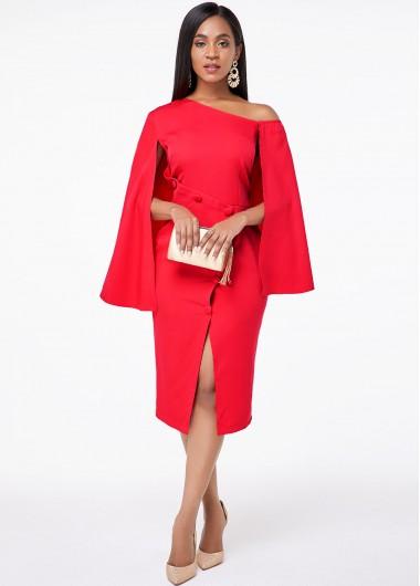 Christmas Rosewe Holiday Dress Skew Neck Front Slit Cape Sleeve Dress - XS