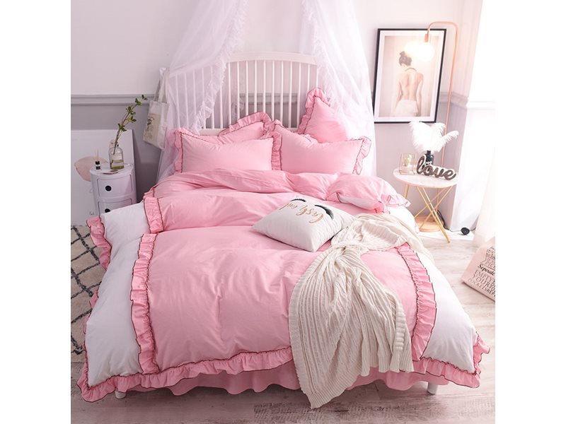 Princess Style Soft Cotton Duvet Cover Sets with Bed Skirt 4-piece European Splicing Style Bedding Sets