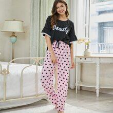 Schlafanzug Set mit Spitzenbesatz, Herzen und Buchstaben Grafik