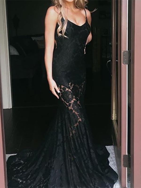 Ericdress Spaghetti Straps Sleeveless Evening Dress 2020
