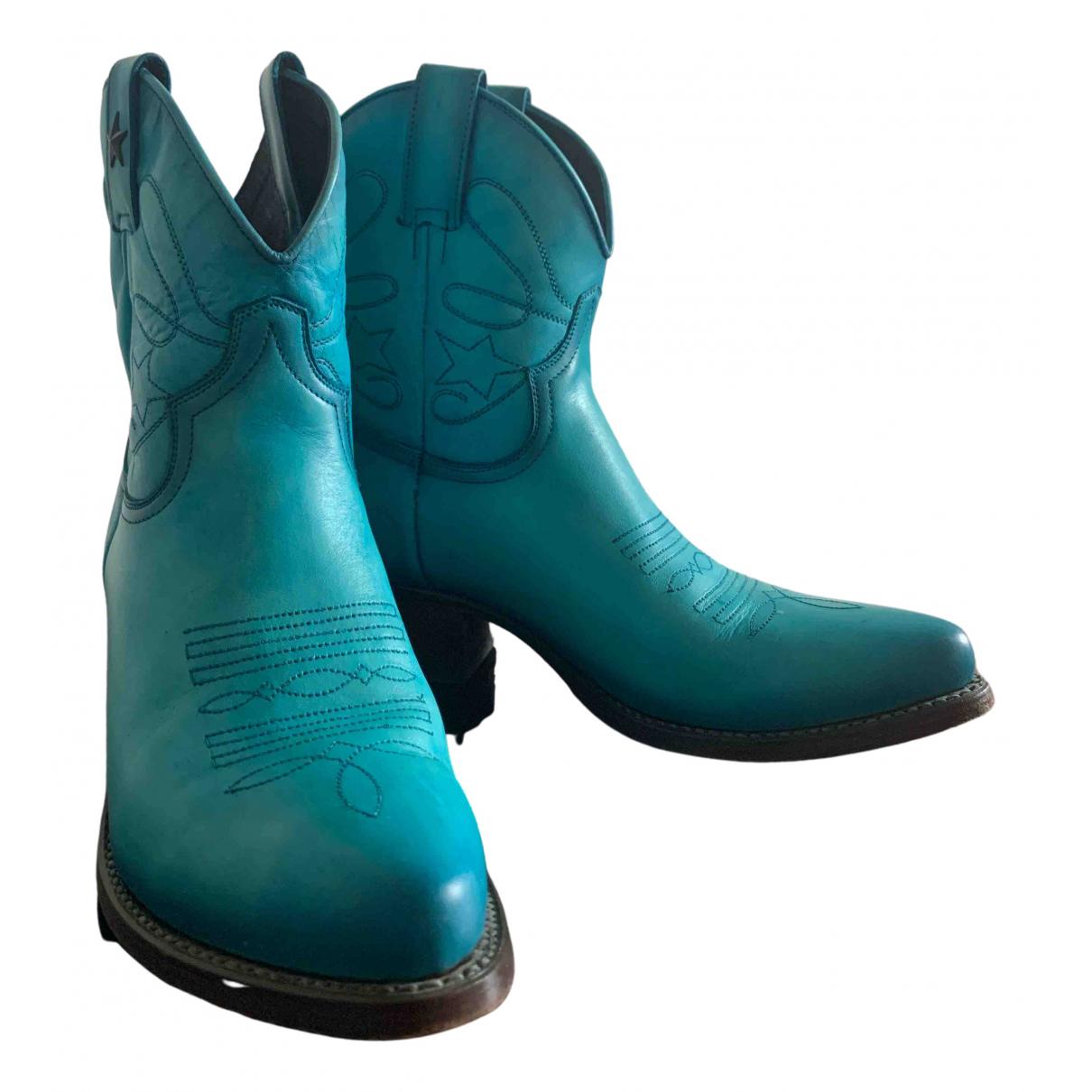 - Bottes   pour femme en cuir - bleu