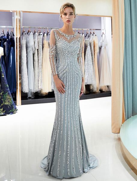 Milanoo Evening Dresses Long Sleeve Light Grey Mermaid Beading Illusion Luxury Formal Gowns