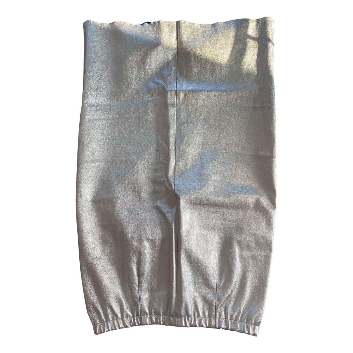 Zadig & Voltaire Fall Winter 2019 Silver Leather skirt for Women 34 FR
