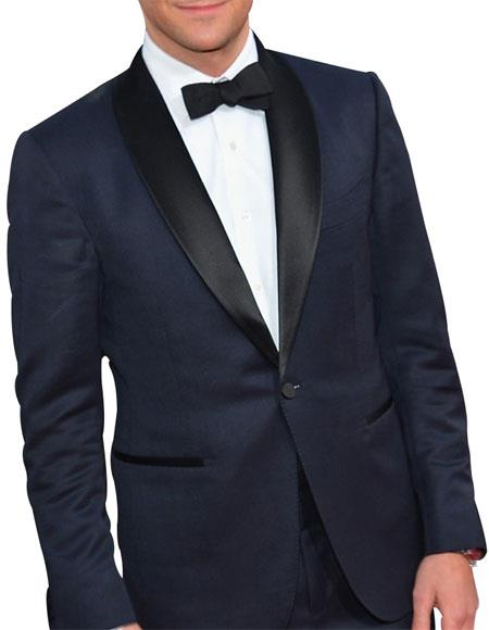 Men's Single Breasted 1 Button Navy Blue Tuxedo Suit