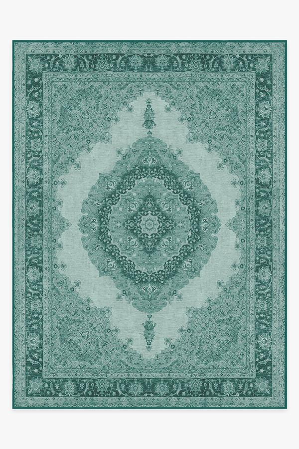 Washable Rug Cover | Victoria Teal Green Rug | Stain-Resistant | Ruggable | 9x12