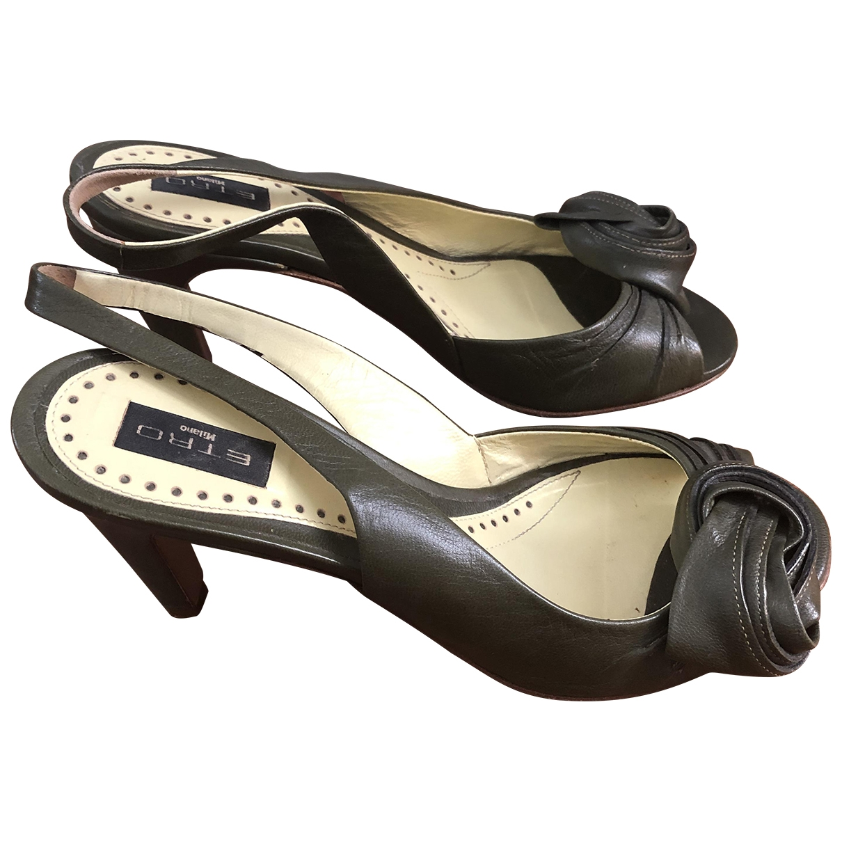 Etro \N Khaki Leather Sandals for Women 37 IT