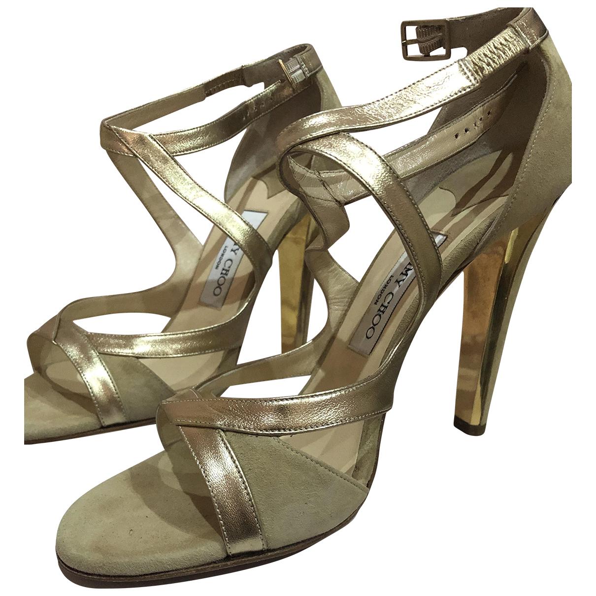 Jimmy Choo Lance Beige Leather Sandals for Women 39.5 EU