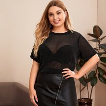 Plus Glitter Mesh Top Without Bra