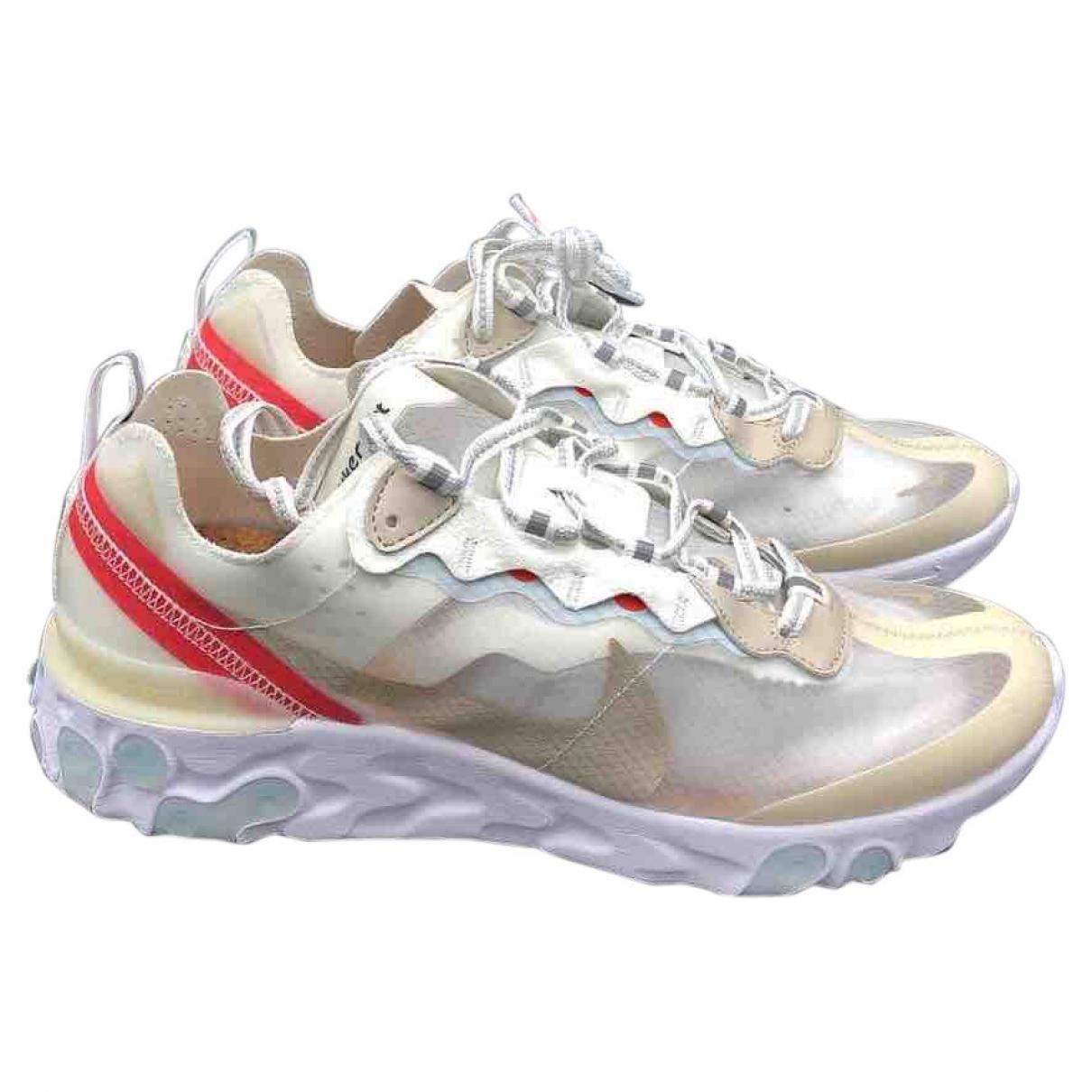Nike React Element 87  Sneakers in  Weiss Leinen