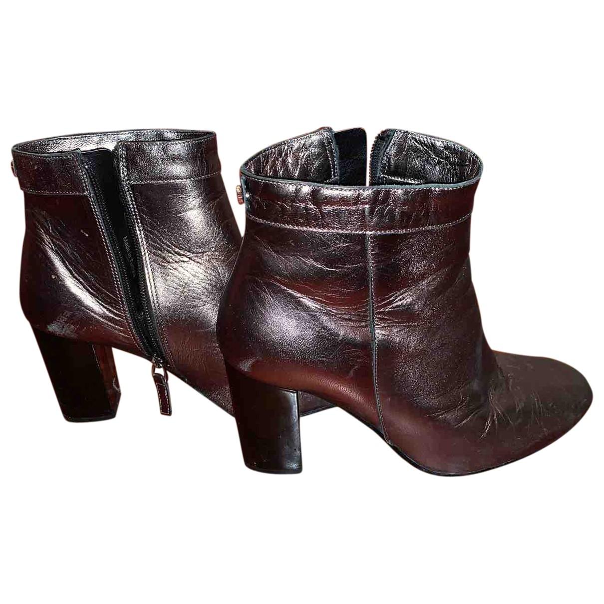 Guess - Boots   pour femme en cuir - argente
