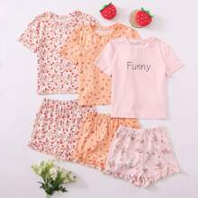 Girls 3 Pack Floral and Letter Graphic Top & Ruffle Hem Shorts PJ Set