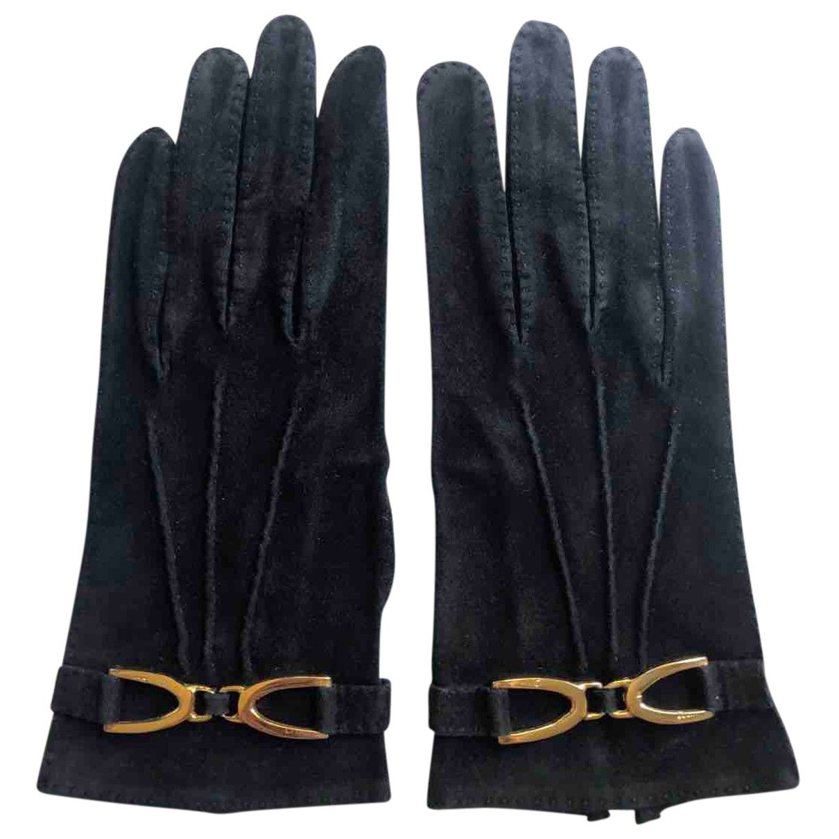 Celine N Black Suede Gloves for Women 6.5 Inches