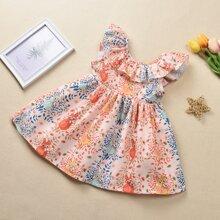 Toddler Girls Cartoon & Plants Print Ruffle A-line Dress
