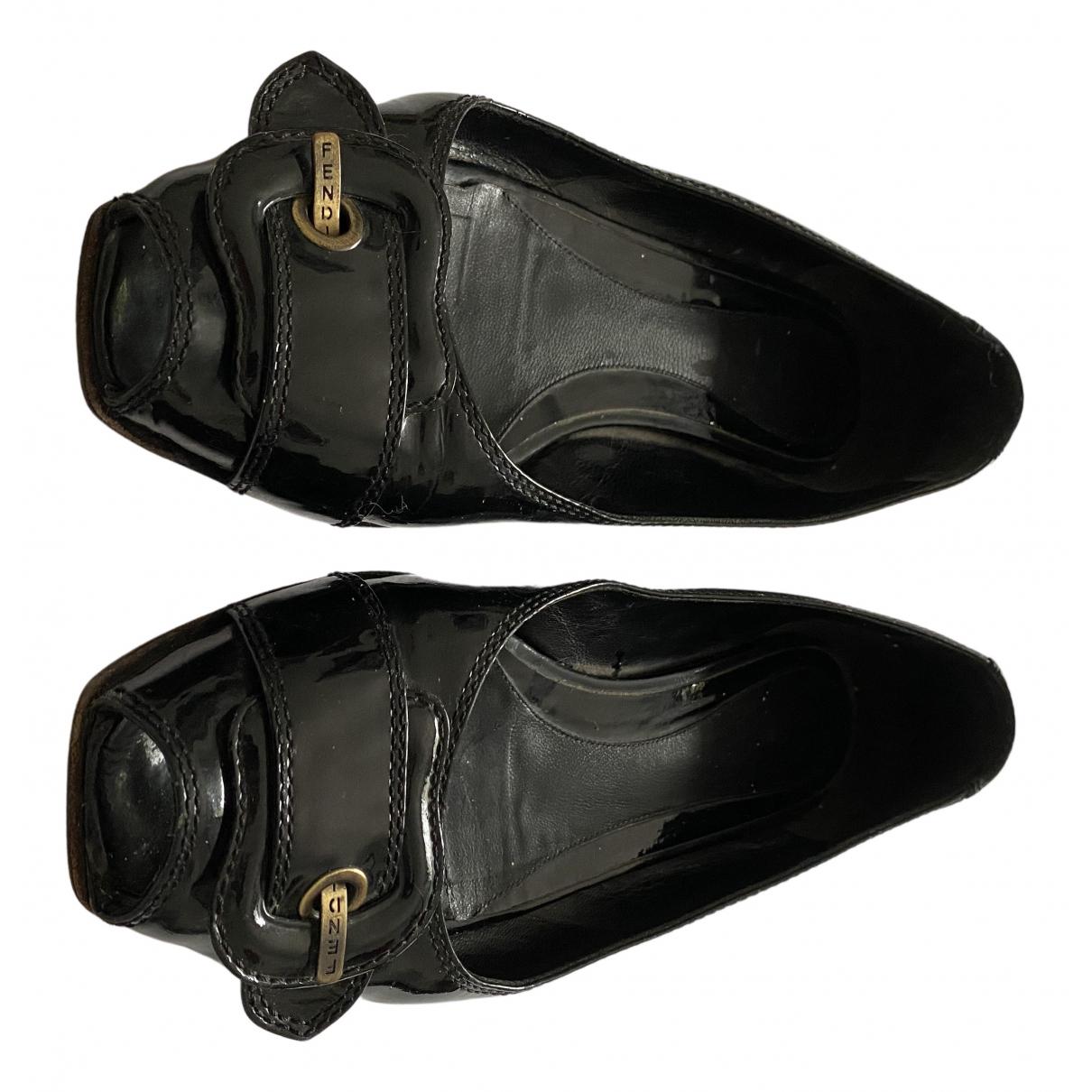 Fendi - Ballerines   pour femme en cuir verni - noir
