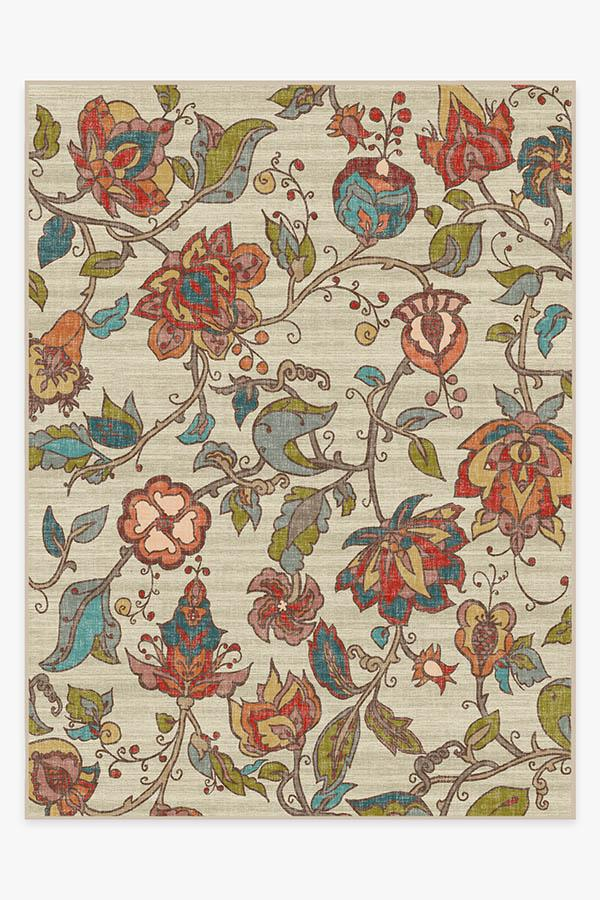 Washable Rug Cover | Frida Floral Natural Rug | Stain-Resistant | Ruggable | 9x12