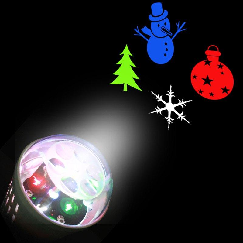 Christmas Tree Snowman Baubles Pattern Projector Light Bulb