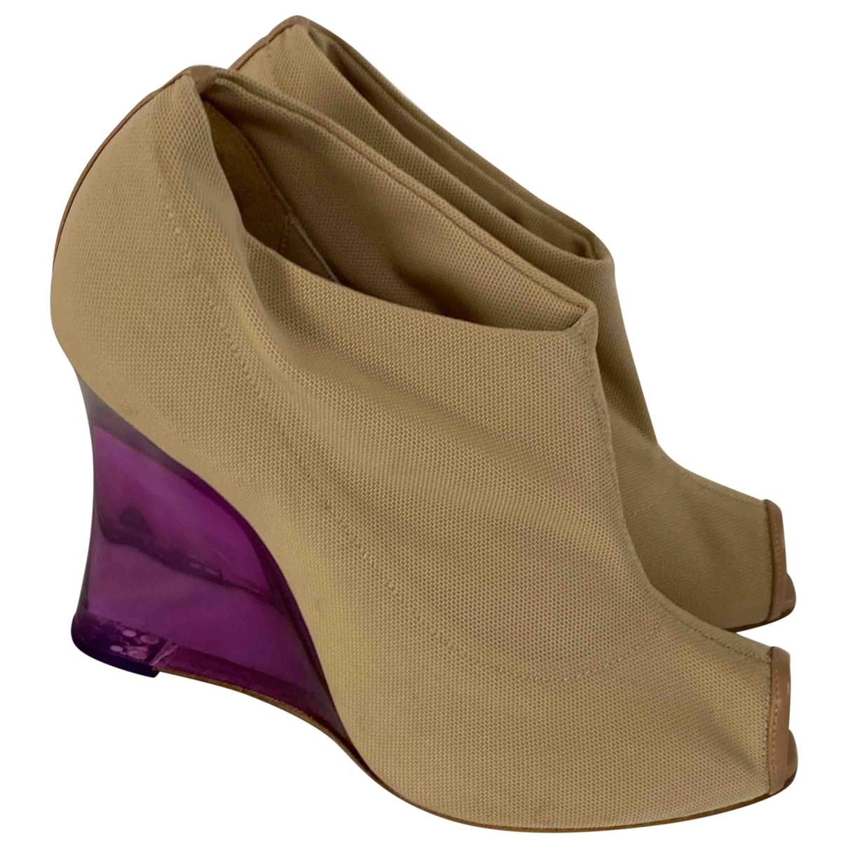 Emporio Armani - Boots   pour femme en toile - beige