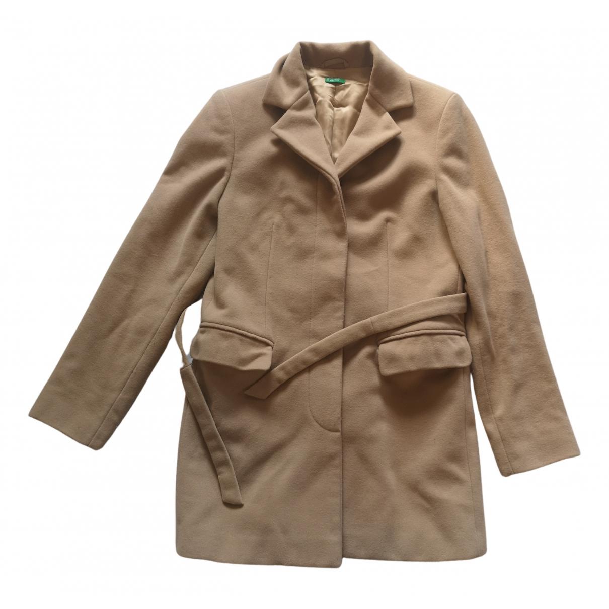 Benetton N Camel Wool coat for Women 42 IT