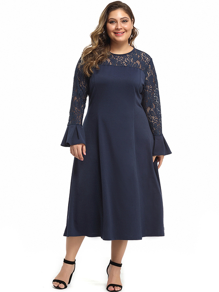 Yoins Plus Size Navy Lace Long Sleeves Ruffle Dress