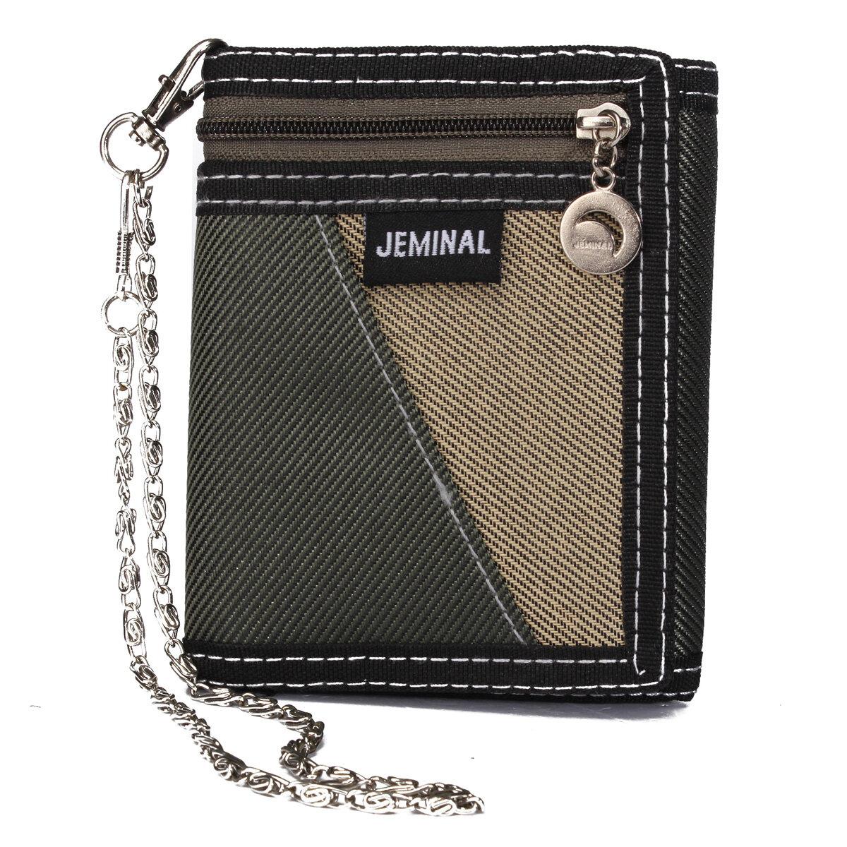 Casual Canvas Vertical Patchwork Design Male Purse Wristlet Wallet