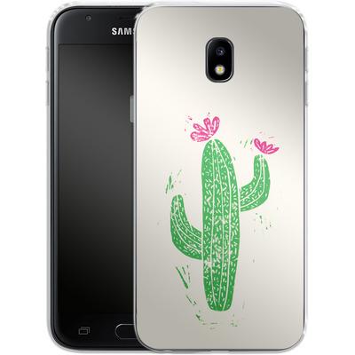 Samsung Galaxy J3 (2017) Silikon Handyhuelle - Linocut Cacti von Bianca Green