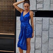 DKRX Crisscross Backless Draped Ruched Metallic Dress