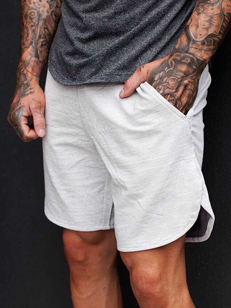 Men Cotton Absorbent Muscle Fitness Loose Breathable Mid Length Sport Shorts