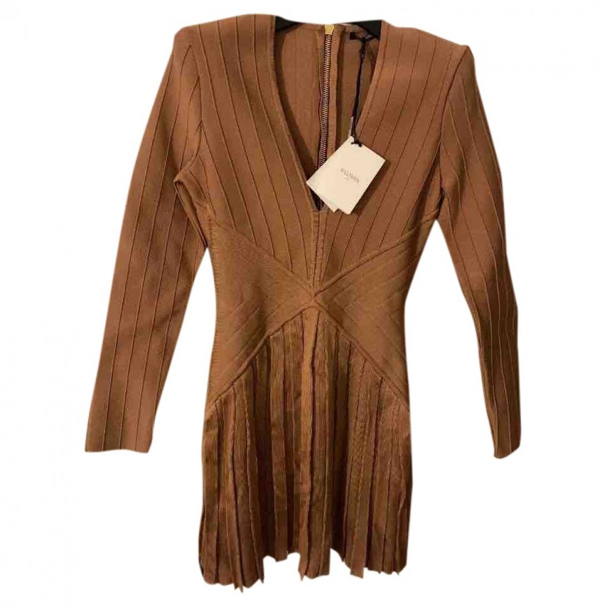 Balmain \N Kleid in  Beige Polyester