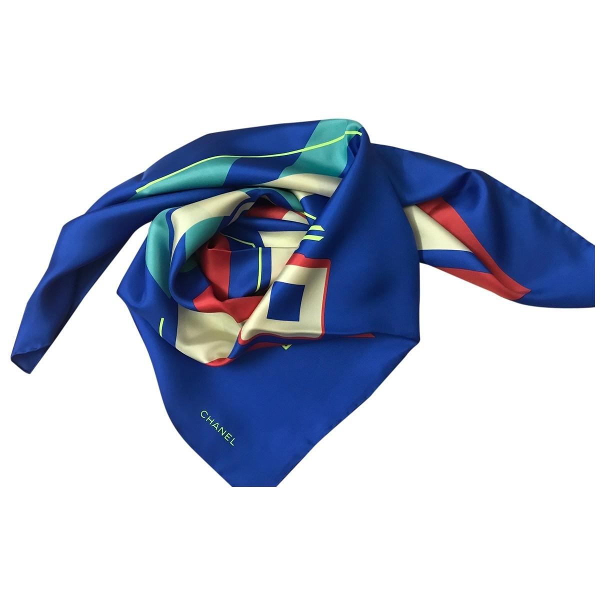 Chanel - Carre   pour femme en soie - bleu