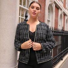 Tweed Jacke mit offener Vorderseite und Band am Saum