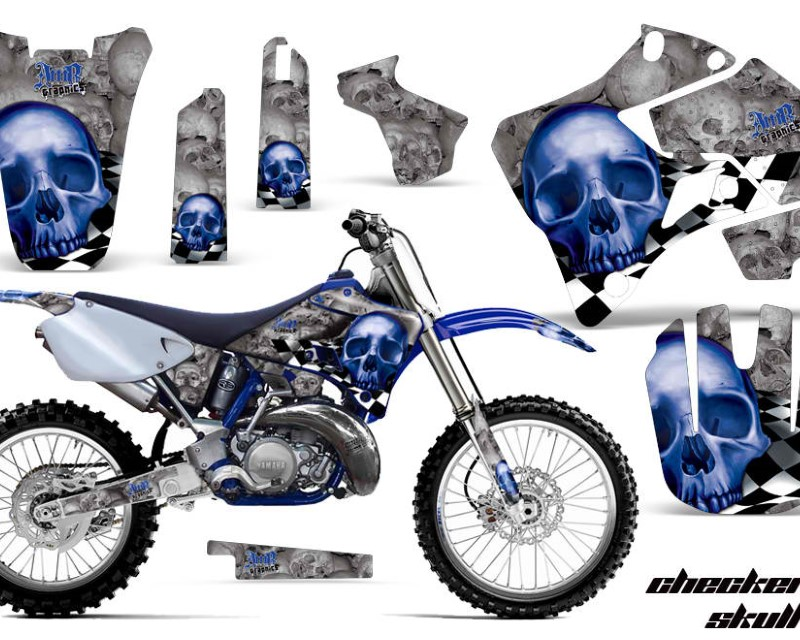 AMR Racing Dirt Bike Graphics Kit Decal Sticker Wrap For Yamaha YZ125 YZ250 1996-2001áCHECKERED BLUE SILVER