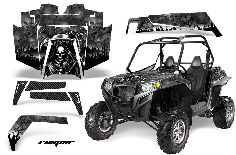 AMR Racing  Full Custom UTV Graphics Decal Kit Wrap Reaper Black Polaris RZR XP 900 11-14