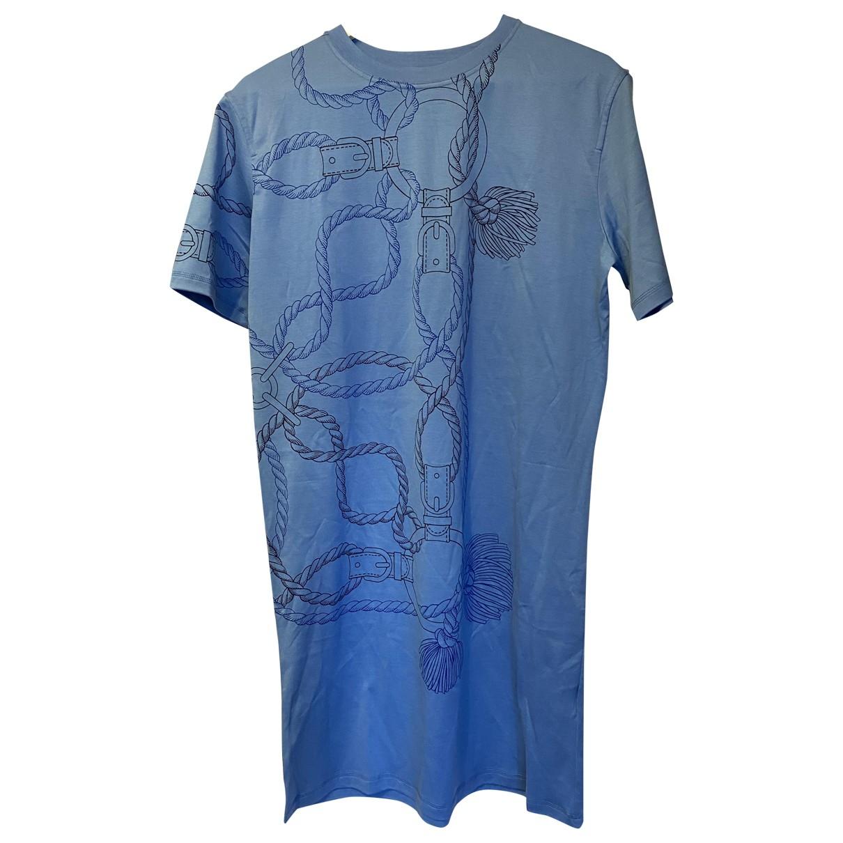 Hermes - Robe   pour femme en coton - bleu