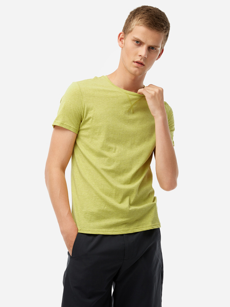 Yoins Yellow Solid Color Round Neck Short Sleeve Men's Casual T-Shirt