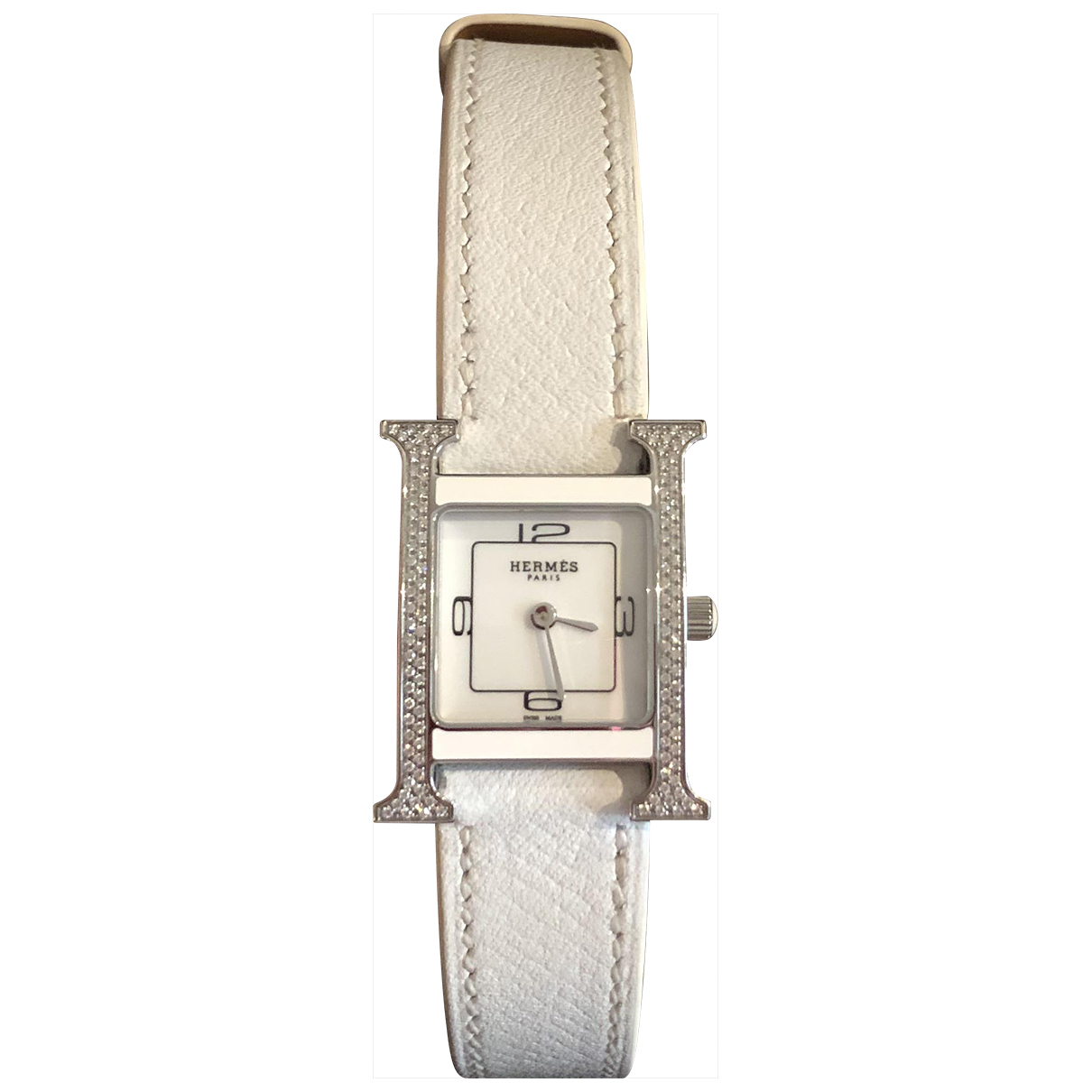 Hermes Heure H Uhr in  Weiss Stahl