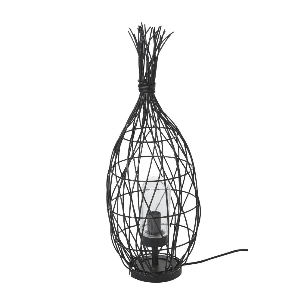 Geflochtene Outdoor-Lampe im Laternen-Look, schwarz