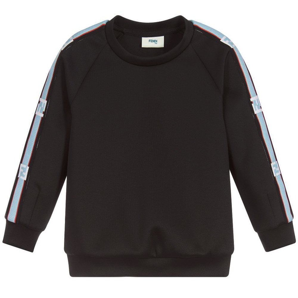 Fendi Kids Arm Logo Neoprene Sweatshirt Colour: BLACK, Size: 10 YEARS