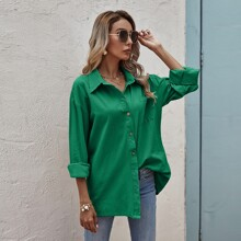 Solid Pocket Front Button Up Blouse