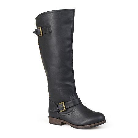 Journee Collection Womens Spokane Wide Calf Riding Boots, 7 Medium, Black
