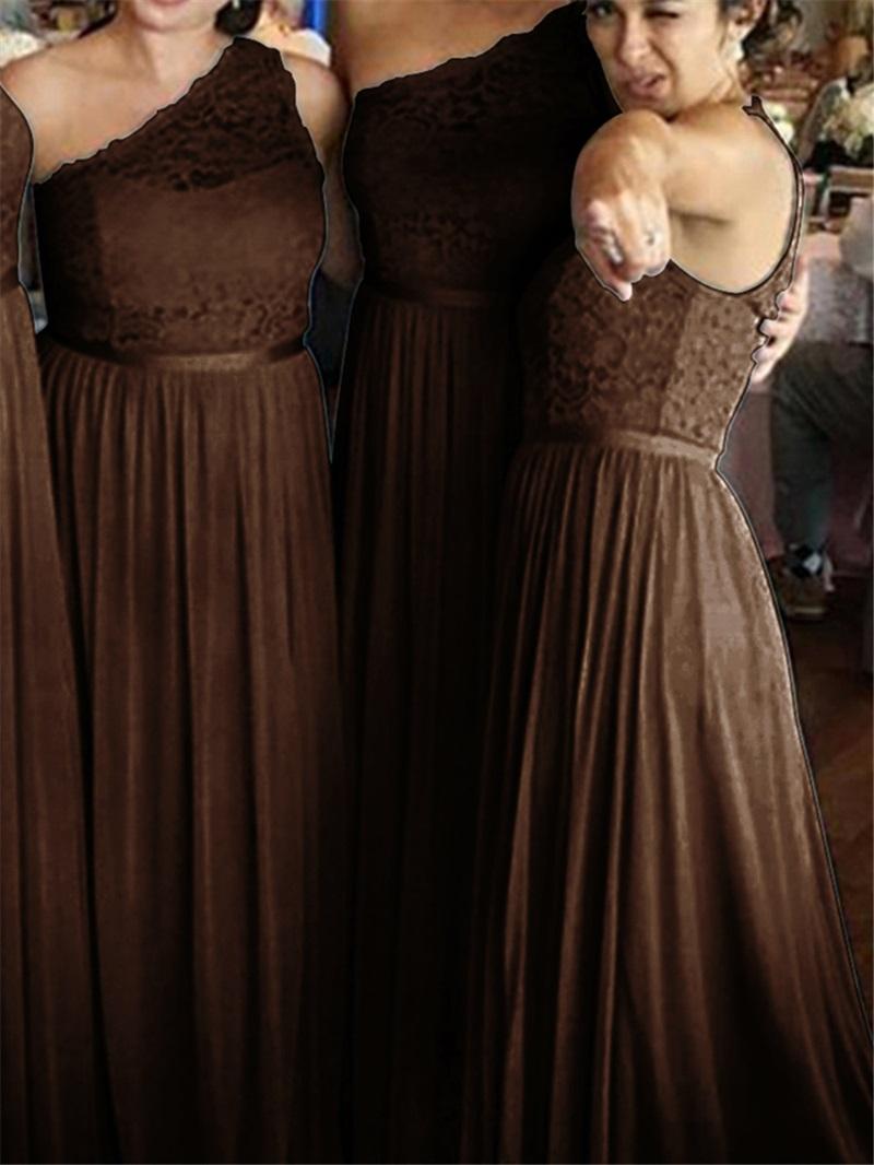 Ericdress One Shoulder Chiffon Lace Bridesmaid Dress