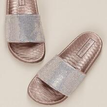 Crystal Band Snake Embossed Sole Slide Sandals
