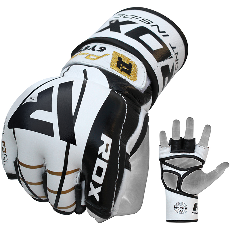 RDX F3 Pro MMA Fight Gloves Competition Leather Small White/Black