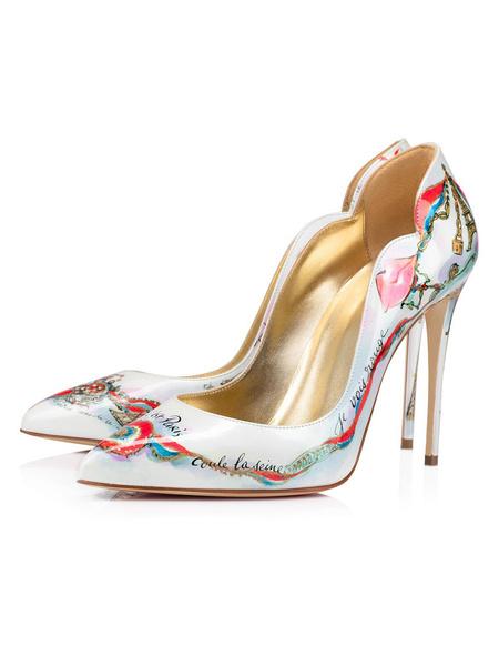 Milanoo Tacones altos para mujer Slip-On Punta puntiaguda Obra de arte Tacon de aguja Zapatos de fiesta blancos