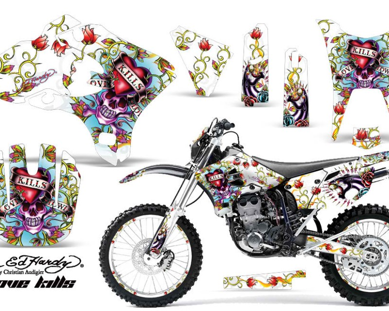 AMR Racing Graphics MX-NP-YAM-WR250F-WR450F-03-04-EDHLK W Kit Decal Sticker Wrap + # Plates For Yamaha WR250F WR450F 2003-2004 EDHLK WHITE